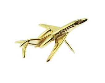 Vintage Airplane Tie Tack, Gold Airplane Tie Pin