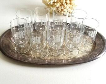 vintage monogrammed 'M' drinking glasses water juice small etched 'M' drinking glasses midcentury modern
