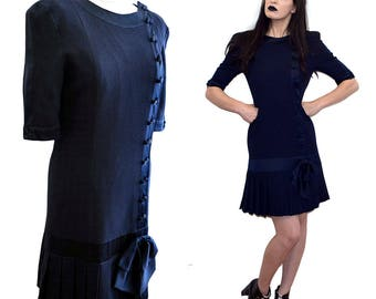 Vintage RENZO Couture SILK Schoolgirl Pleated Mini Tuxedo Scooter Dress Satin Bow Shift Secretary Robe Designer 70s S GB10