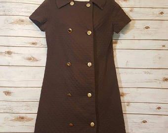 Vintage, 1960's, Neiman Marcus brown cotton brocade dress/ mod/ gold buttons/ medium