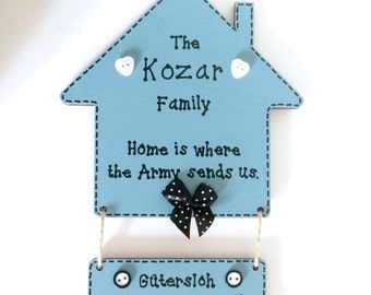 Personalised Home Is Where The Army Sends Us Plaque ~ Army Home Sign ~ Wall Art & Home Decor Gift ~ Any Colour