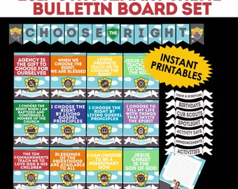 """2017 LDS Primary Theme """"Choose the Right"""" CTR Bulletin Board Set"""