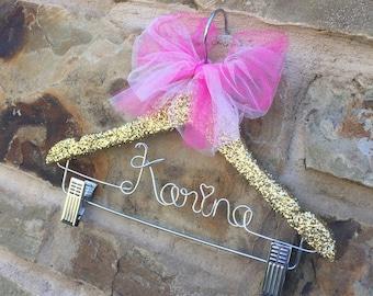 Personalized hanger with clips, Cheer hanger, glitter tutu display, childs cheer hanger, glitter hanger, skirt hanger, pants hanger, gold
