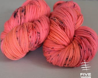 Hand dyed yarn, Peppered Salmon- Sock - Merino Superwash/Cashmere/Nylon, Handdyed yarn, Hand dyed sock yarn, MCN