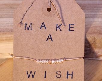 Wish bracelet / Adjustable cord bracelet /  Pearl wish bracelet / Pink wish bracelet / Bead wish bracelet /Tiny Pearl bracelet/Tiny Bracelet