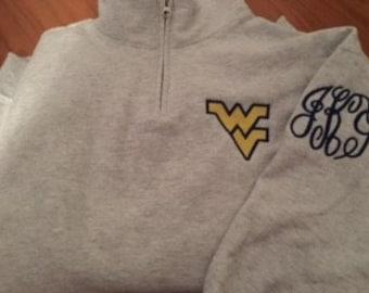 Monogrammed West Virginia Mountaineers Quarter Zip Sweatshirt