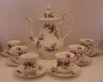 Royal Albert Lavender Rose Coffeepot / Teapot and Six Demitasse Coffee or Tea Cups First Quality 1960s
