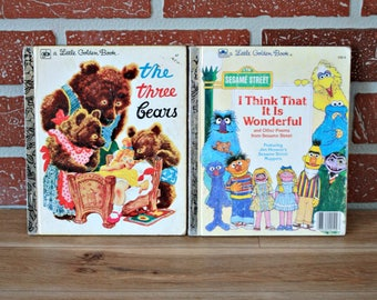 Two English Golden book, Sesame Street book, The three bears book, 70s book, 80s book, Collectible, Jim Henson, Kids gift, Book lover