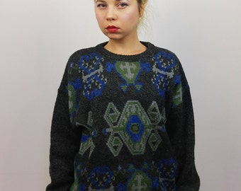 Vintage 90's Unisex Wool Knit Jumper/Sweater Retro Graphic Pattern