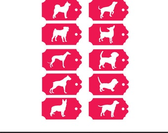 dog gift tags labels svg dxf jpeg png file stencil monogram frame silhouette cameo cricut clip art commercial use
