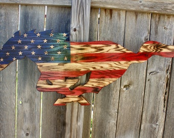 Rustic American Flag Ford Mustang
