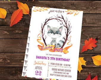 Woodland Raccoon Birthday Invitations, Woodland Birthday Invitation, Raccoon Invitations, Animals Invitations, Сute Animals Invitation,