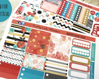 Planner Stickers - Weekly Planner stickers - Erin Condren Life Planner - Happy Planner - Day Designer- Watercolor Rose - Watercolor stickers