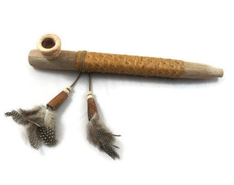Peace Pipe, Wood, Handmade, Wood Pipe, Gift Beads, Collectible, Indian Peace Pipe