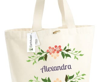 Cotton bag BIO flowers Alexandra - large bag slung - mothers holiday - married - bridesmaid - customizable - anniversary