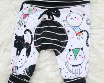 Baby Toddler Cat Grow With Me Pants, Baby Girl Grow With Me Pants, Baby Girl Cat Pants, Baby Girl Cat Leggings