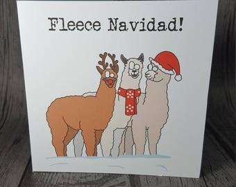 Feliz Navidad funny animal pun alpaca Merry Christmas greetings card handmade by Relephant Cards - Fleece Navidad