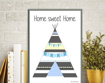 Teepee poster, Baby illustration, Poster quote baby, Nursery art print, Children poster, Kids room decor, Baby gift, Quote baby, Art print
