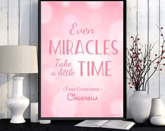 Disney poster, Disney quote, Cinderella, Kids poster, Girl room decor, Disney princess, Kids decor, Nursery print, Cinderella Disney gift