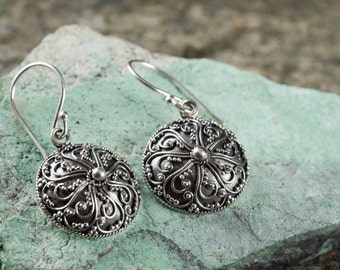 3cm Sterling Silver Filigree Earrings - Silver Earrings, Sterling Silver Jewelry, Sterling Silver Earrings, Silver Drop Earrings J443