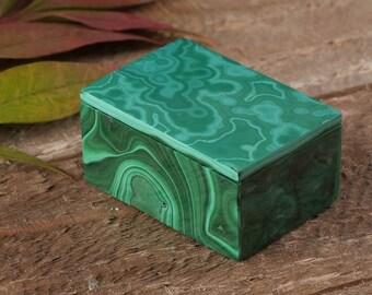 1.3 Inch MALACHITE Jewelry Box with Lid from Congo, Africa - AA Quality Malachite Box Jewelry Holder, Jewelry Organizer, Ring Dish 36373