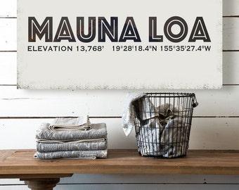 Mauna Loa Mountain Canvas, Vintage Mountain Name Canvas, Vintage Style Canvas, Printed on Canvas, Vintage Wall Art, Vintage Wall Decor
