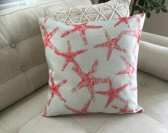 "STARFISH Accent Decorator Pillow. FREE Pillow Form/Insert. 16""x16"". Cotton/linen.. Coastal Decor. Beach Decor. Nautical Decor"