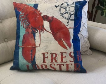 "Fresh LOBSTER Decorator Accent Pillow. FREE Pillow Form/Insert.. 16""x16 Cotton/linen.. Coastal Decor. Beach Decor. Nautical Decor"