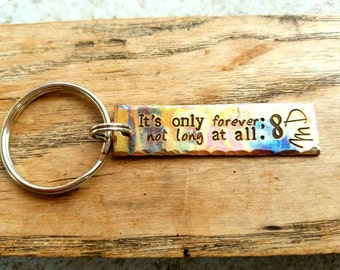Personalized stamped David Bowie lyrics keychain. Labyrinth inspired gift. Personalized bowie gift. Underground lyrics. It's only forever