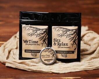 New Mom Gift Set - Postpartum Herbal Tea, Healing Nipple Salve, Soothing Sitz Bath, Postnatal - Loose Leaf Tea, Herbal Bath, Herbal Salve
