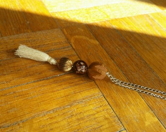 Ethnic long necklace with pompom