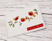"5""x7"" Handmade Card Christmas Watercolour Robins On a Branch Xmas Greeting Card Winter Scene Clean Minimalistic Modern Seasonal Holidays"