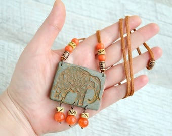 Elephant necklace statement Unusual Long Boho pendant Dangle Indian pendant Elephant ethnic pendant with quartz beads Unique jewelry