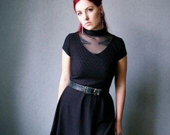 Black Turtleneck Mini Dress / Punk Cut-out dress / Gothic skater dress / Black Tunic Dress/ Goth Lolita Mini Dress