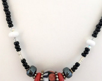 """LAMPWORK BORO BEAD """"Butterfly Wing"""" Necklace (Handcrafted)"""