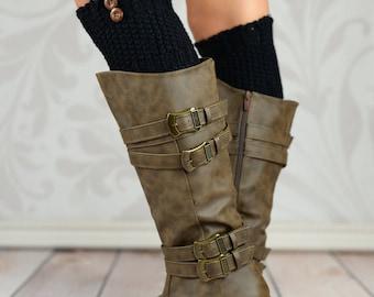 Black Knit Buttoned Boot Cuffs