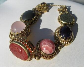 Sterling Silver Gold Plated Multi Gemstone Slide Bracelet, Vintage Inspired Slide Bracelet, Gemstone Slide Bracelet, Gemstone Bracelet