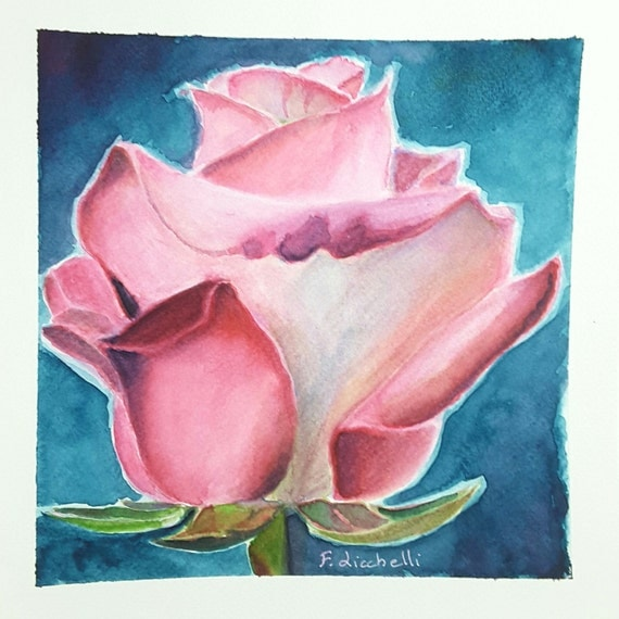Lovely rosebud on blue, little square painting, japanese watercolors, decorative picture, gift idea for her, wall art, home office decore.