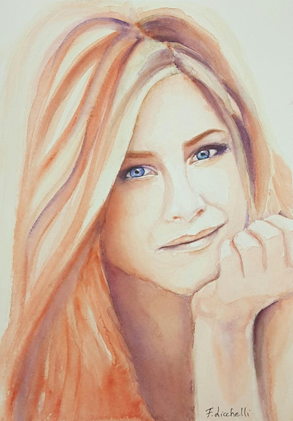 Jennifer Aniston portrait, Famous actress, Original watercolor, ooak, fans gift idea, wall art, home decoration, living art, lounge art.