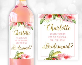 Will you be my bridesmaid? Will you be my maid of honor? Bridesmaid Proposal, Asking Bridesmaids, Will you be my bridesmaid wine label BM006