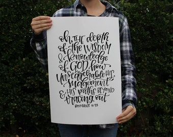 Romans 11:33 Art Print - Bible Verse Scripture Quote