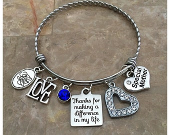 Thanks For Making A Difference In My Life Charm Bracelet, Special Mother Charm Bangle, Stainless Steel Bangle, Mom Gift, Mom Charm Bracelet