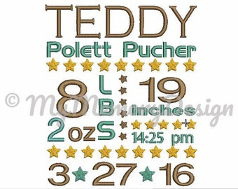 Baby Birth Template  Announcement Embroidery Design instant download pes file boy baby girl baby