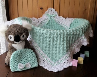 Crochet Baby Blanket and Hat Set, Baby Blanket Set for Boy or Girl, Baby Shower Gift