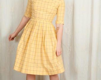 1960s Creamsicle Plaid Dress - XS