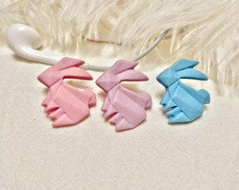 Clay Origami Bunny Brooch