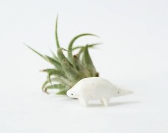 Miniature Ceramic Pangolin Totem w. Speckle and Blush - Pangolin Terrarium Figurine, Pangolin Figurine, Animal Figurine, Miniature Animal
