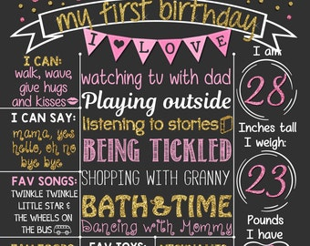 Pink and Gold Glitter First Birthday Chalkboard Poster |  confetti Girl 1st Birthday Chalk Board | Sparkly Pink | DIGITAL FILE - PRINTABLE