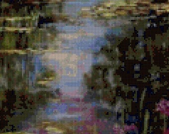 Impressionist Iris Pond in the style of Monet Cross Stitch pattern - PDF Instant Download!