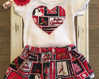 St. Louis Cardinals Baby Outfit, Saint Louis Cardinals Onesie and Skirt, St. Louis Cardinals Skirt, St. Louis Cardinals Baby